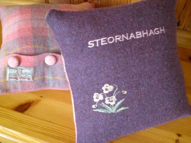 Embroidered Tweed Cushion